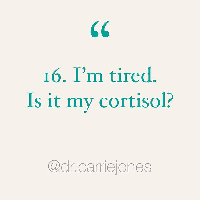 """Question 16 in this huge cortisol series (go back to get your other questions answered): I'm tired. It must be my cortisol, right? 🤷🏼♀️ . Y'all. 👏🏼 . Listen up. Cortisol is NOT your only energy hormone in your body! 😳 . So many of you write that you're EXHAUSTED but your cortisol on testing is high. Or normal. 😮 . Here's something to consider, maybe it's not your cortisol!! 😱 . Or maybe your cortisol is high because you're constantly fighting a fight and that feels EXHAUSTING! 😫 . But...also look at your thyroid, neurotransmitters, glucose, DHEA, testosterone, progesterone, estrogen, mitochondrial health and vitamin levels (like B12, B6, B5, D, iron). 🤓 . Maybe you have Epstein Barr (EBV) or it's cousin, CMV. Maybe it's Lyme or mold? Maybe you have parasites or Candida? . Maybe you're not sleeping great, waking up often, staying up too late? 😴 . Look at your diet, food choices and hydration! 👀 . Maybe you have """"F*ck This Sh*t"""" syndrome and you need to make some changes. 😉 . We've all experienced FTS syndrome. It's tiring. 🤣 . So, don't blame all your fatigue on cortisol. A million things have """"fatigue"""" as the symptom. 🙃 . Stay tuned for so 👏🏼 much 👏🏼 more 👏🏼 in this series! Y'all will LOVE the next post. 🐕 . Save, repost and tag a friend who's struggling with FTS syndrome! ♥️ . . . . . #burnout #stressedout #overit #sooverit #tired #fatigue #sleepy #sotired #tiredaf #stressedaf #hypothyroid #hashimotos #inflammation #guthealth #brainhealth #microbiome #hormones #naturopathicmedicine #naturopathicdoctor #functionalmedicine #girlpower #bossbabe #girlboss #yougotthis #changeisgood #selfcare #realtalk #ipreview via @preview.app"""