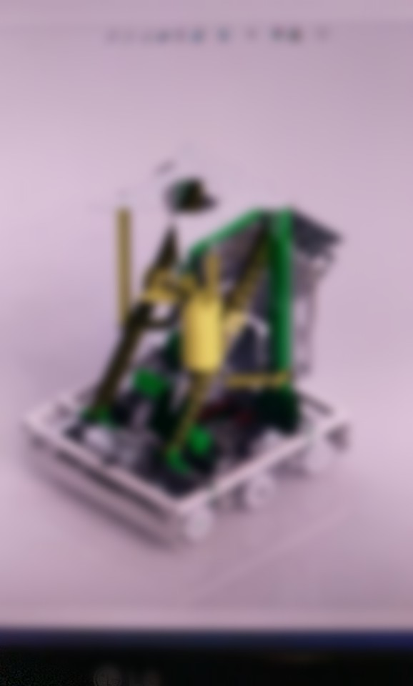 Blurred picture of our final CAD model. Everything yellow is in progress or completed.