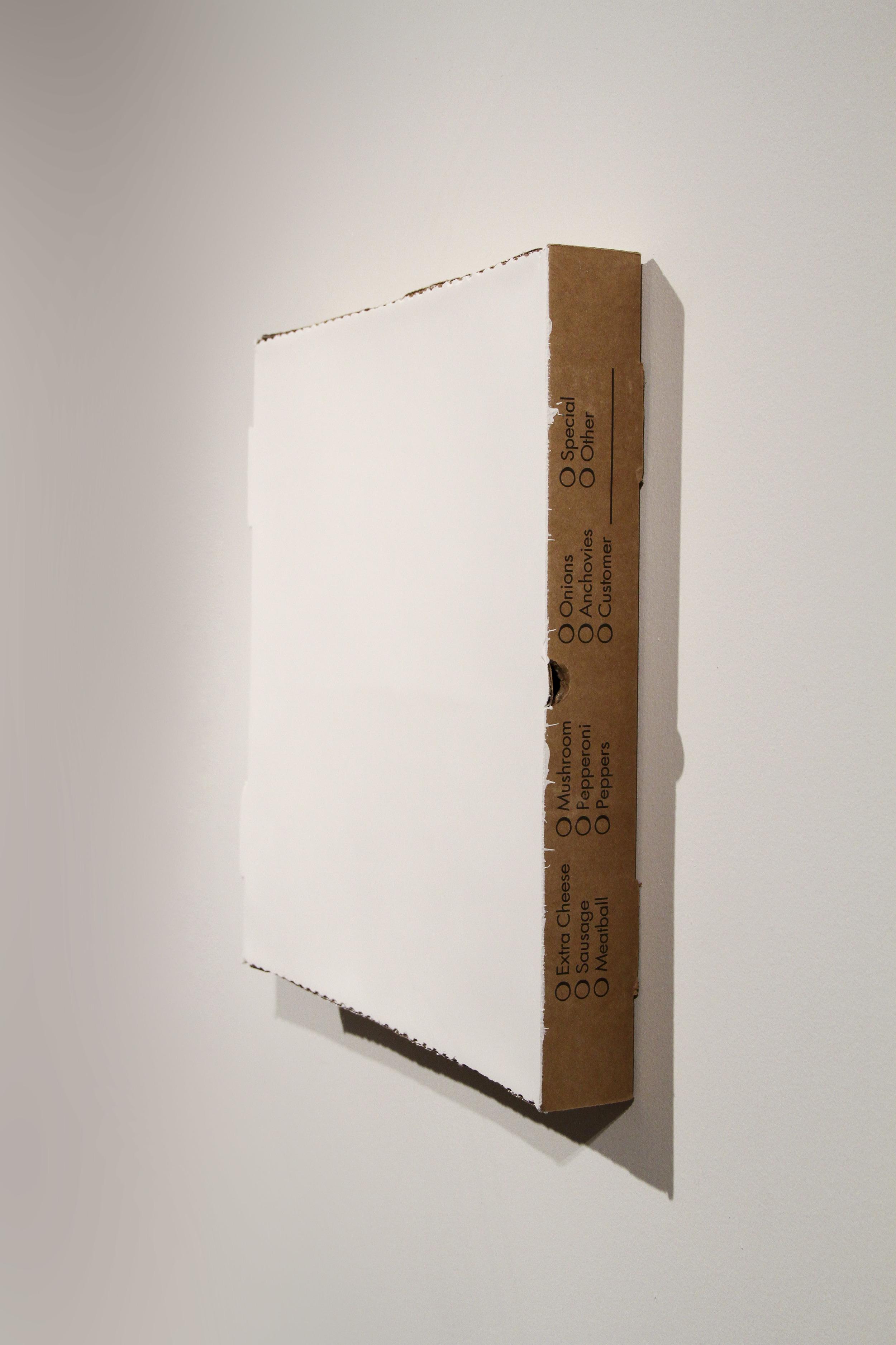 """""""Painting #22"""" - Acrylic on cardboard pizza box -2013 - 16x16x3"""""""