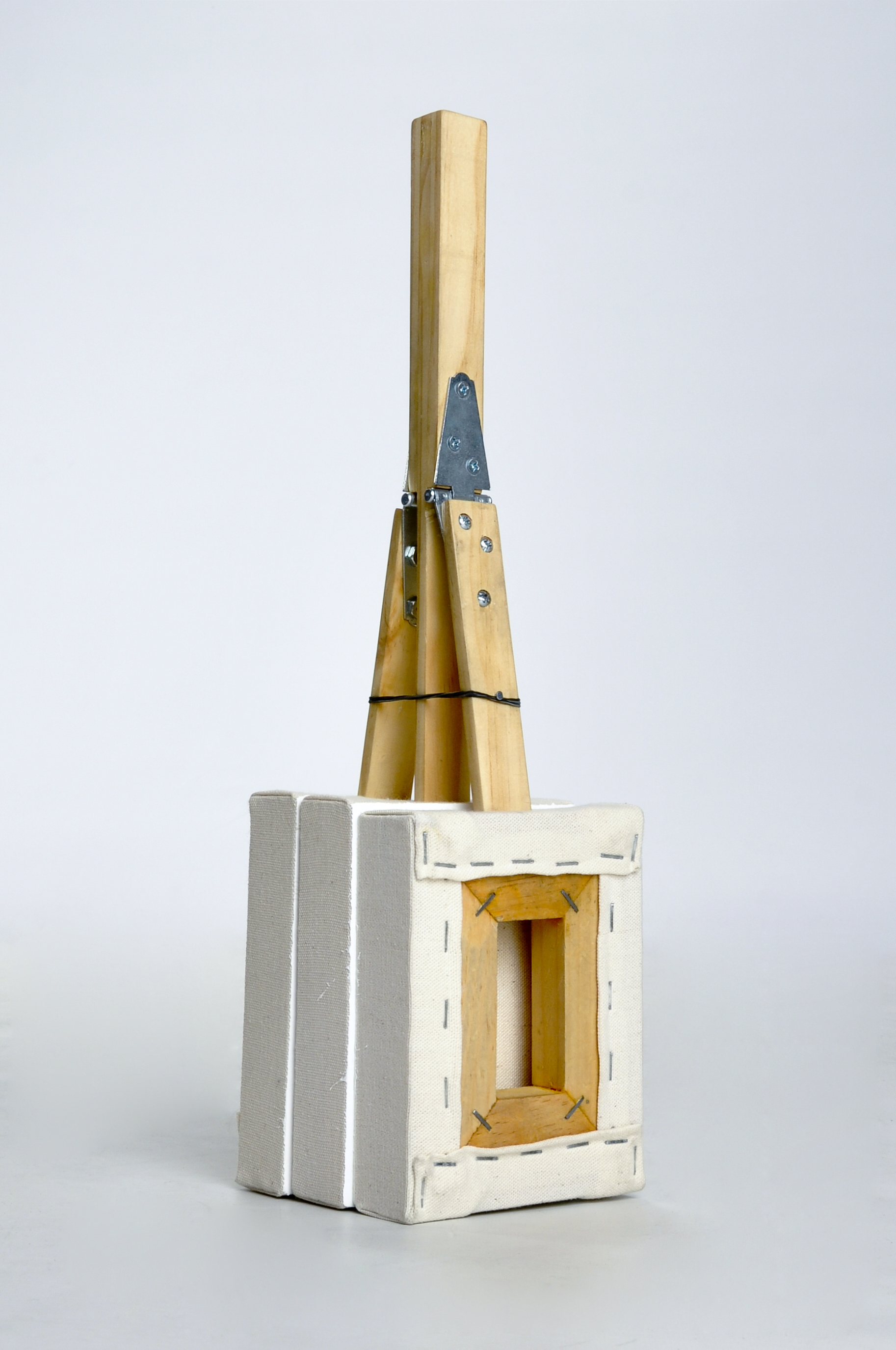 "Audio Canvas (Clapper) - 2014 - Canvas, wood, acrylic, staples, metal hinges, rubberbands - 18 x 8 x 6"""