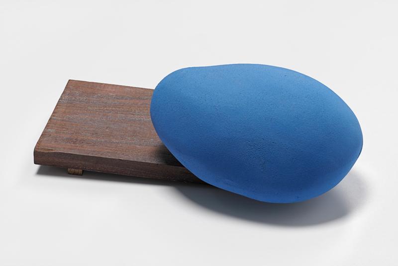 Blue Walnut,  2014  Glazed ceramic, walnut  5 x 14 1/2 x 10 in