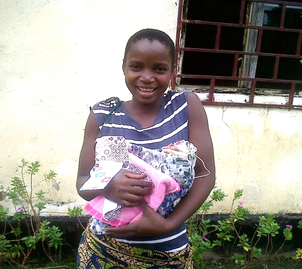 Princess Chirwa with her re-usable sanitary towels.