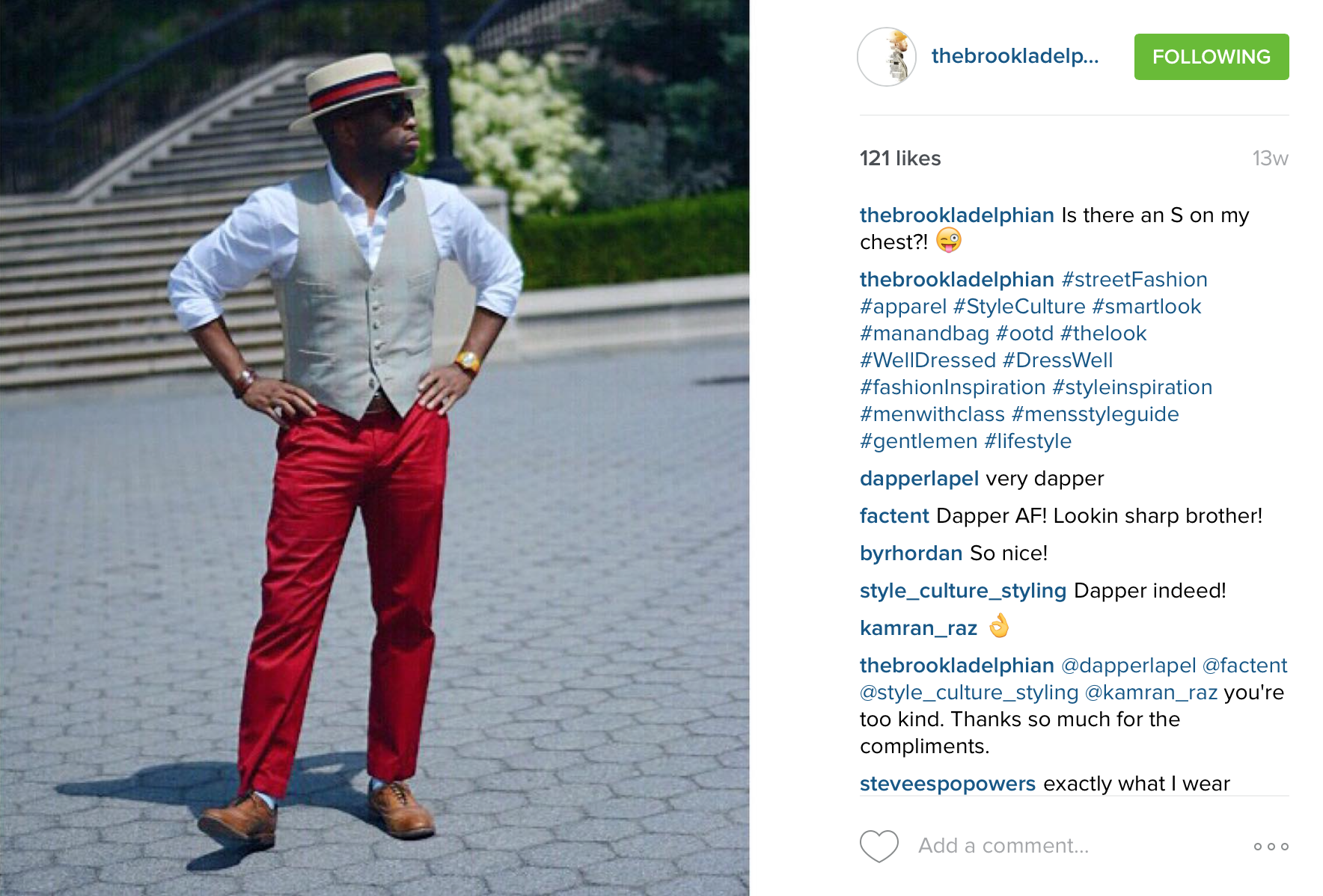 Na'eem has a pair of red pants for Summer and Winter