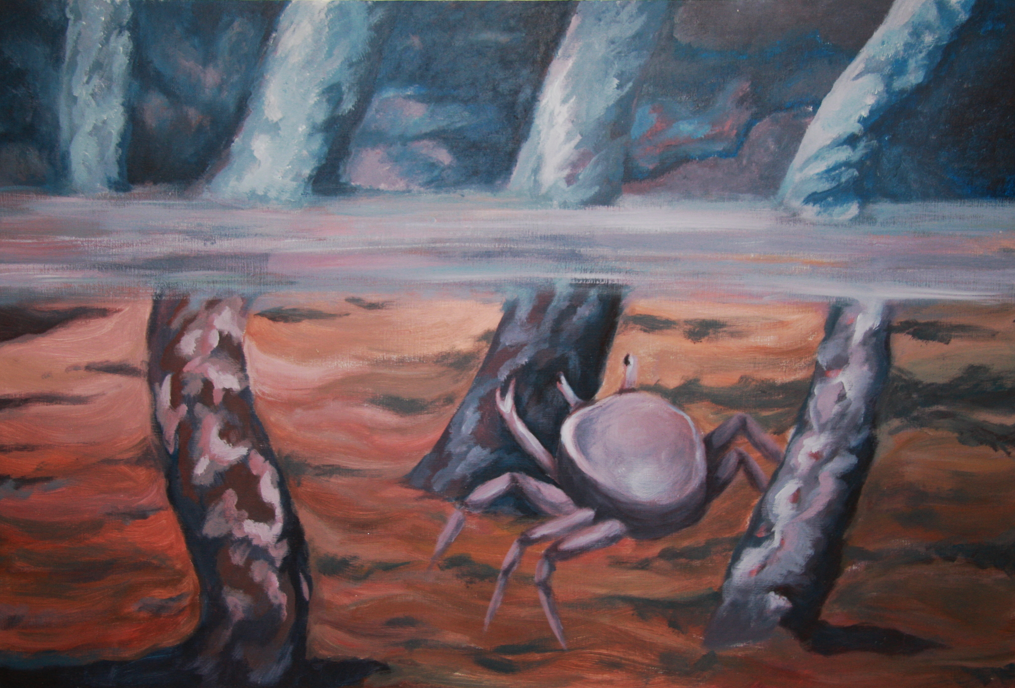 The edge of water and air. Oil painting, 1 x 0,7 meters.
