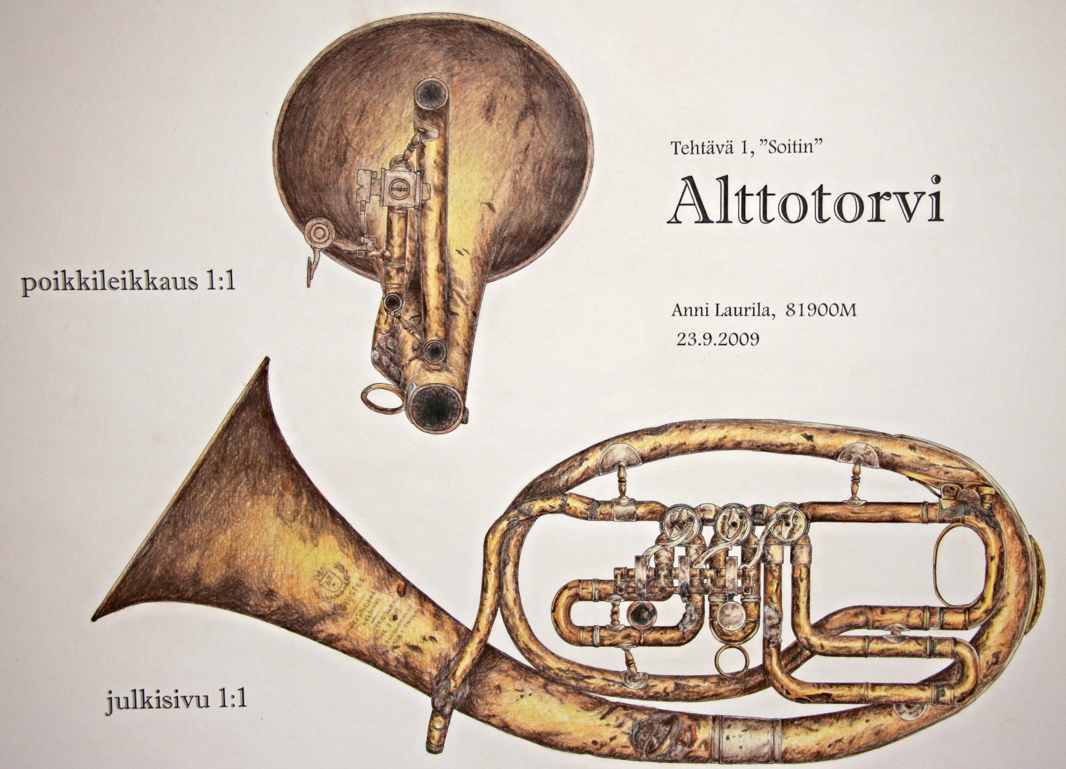 Richness of the worn-down.Real-size drawing of an old trumpet. Marker pen and colored pencils,  1 x 0,7 meters.
