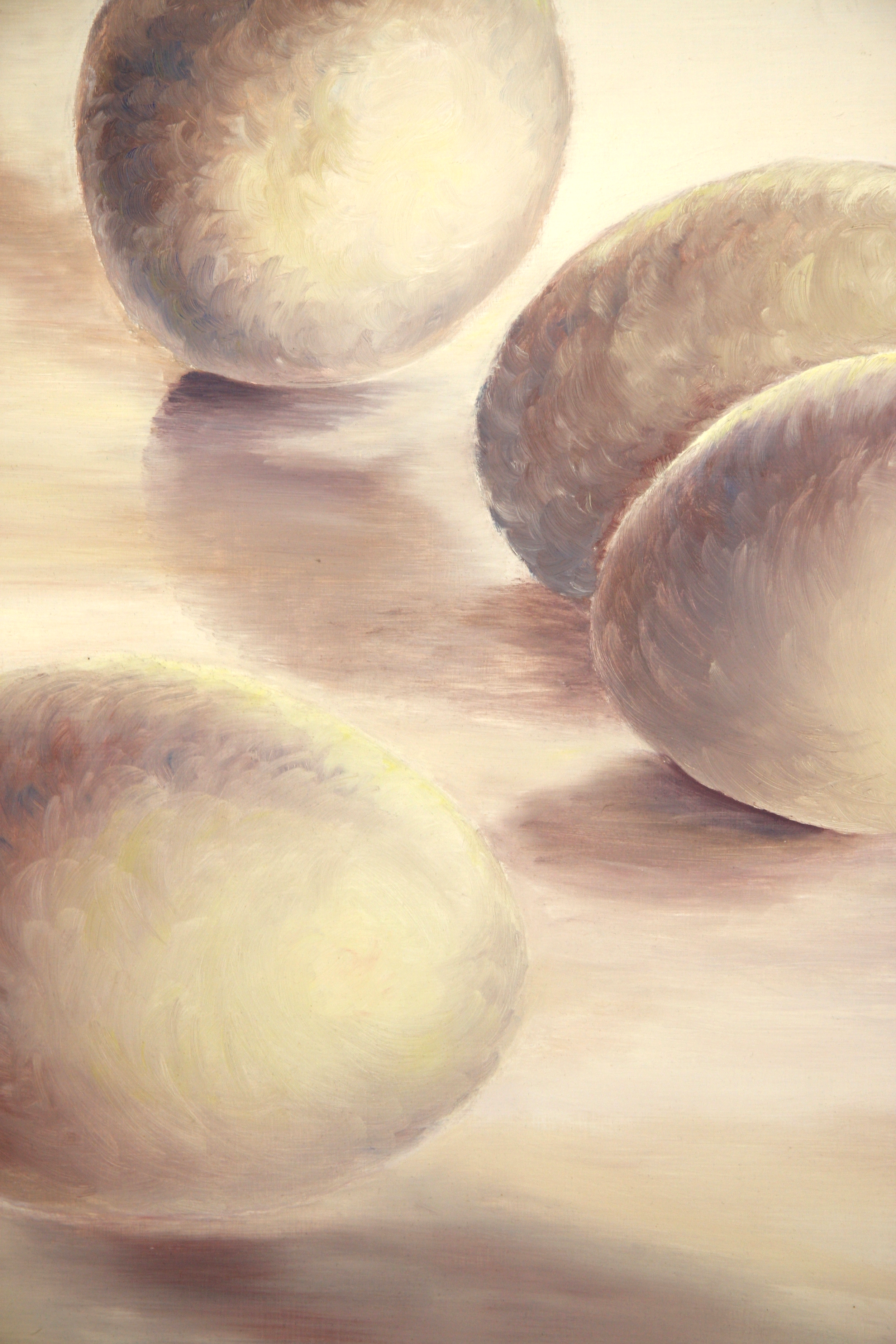 The colors and textures of smooth white eggs on a smooth white table. Oil painting. 0,7  x 1 meters.