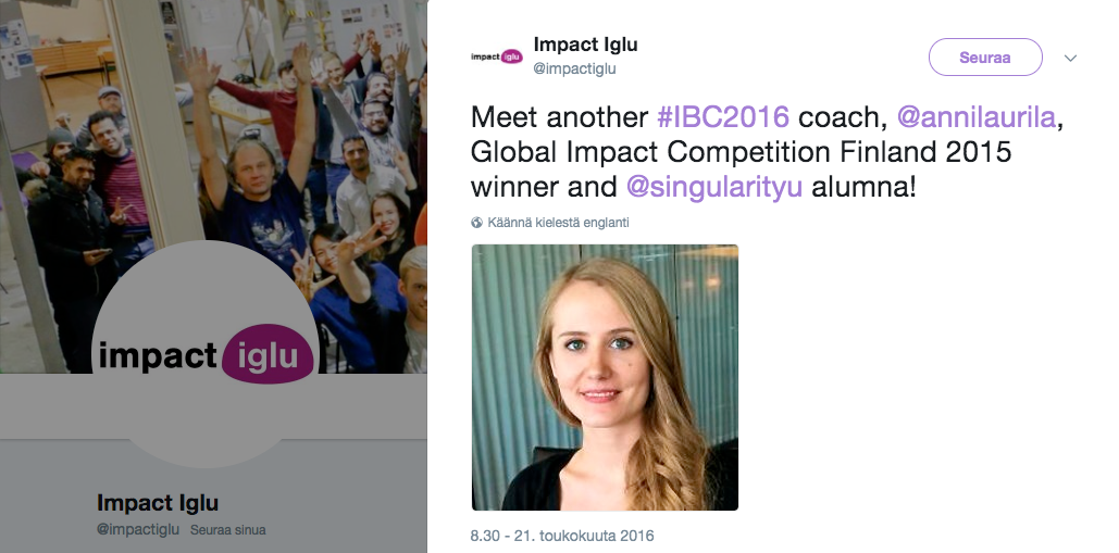 Impact Coach atAalto University - spring 2017For Impact Iglu Business Challenge at Startup Sauna