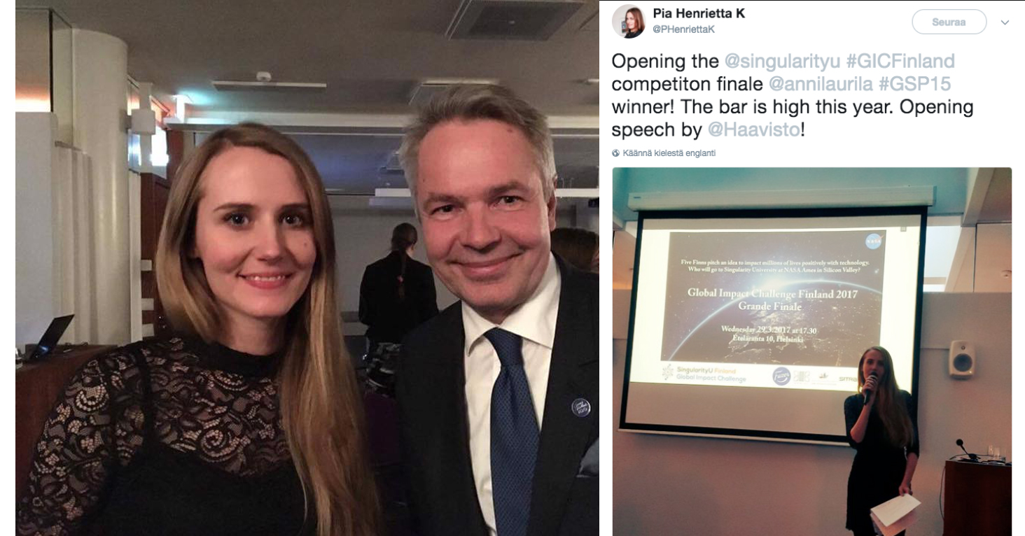 Host & Judge ofGlobal Impact Challenge 2017 - spring 2017Hosted the event and was a judge at the competition. Invited Pekka Haavisto to give a keynote speech.