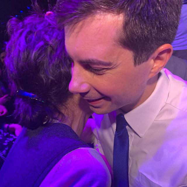 MY TWO FAVORITES, MOM + PETE! Okay three favorites, advance to photo 2 for a special surprise (hint Time Mag cover star). Incredibly gracious people, such a gift to meet. I was also interviewed on Fox News. Let's hope Trump was watching... #petebuttigieg #pete2020