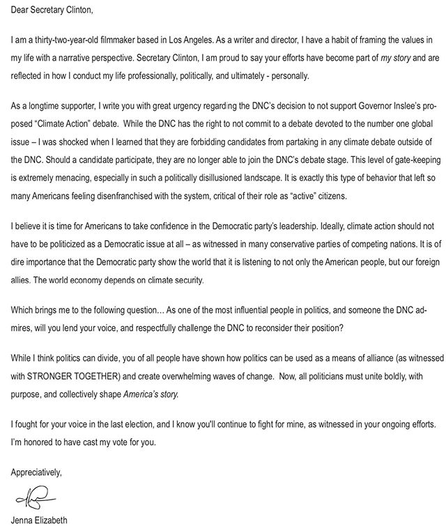 Secretary @hillaryclinton , will you join me and fellow Democrats @elizabethwarren @algore in lending your voice to Gov @jayinslee proposed #climatedebate . While I welcome your specific input, I also call on fellow Democrat candidates to not silence their voices on this matter either. So, I open this to my friends, please tag your respective candidates and help me elevate the conversation. #climatechange #climateaction #climate