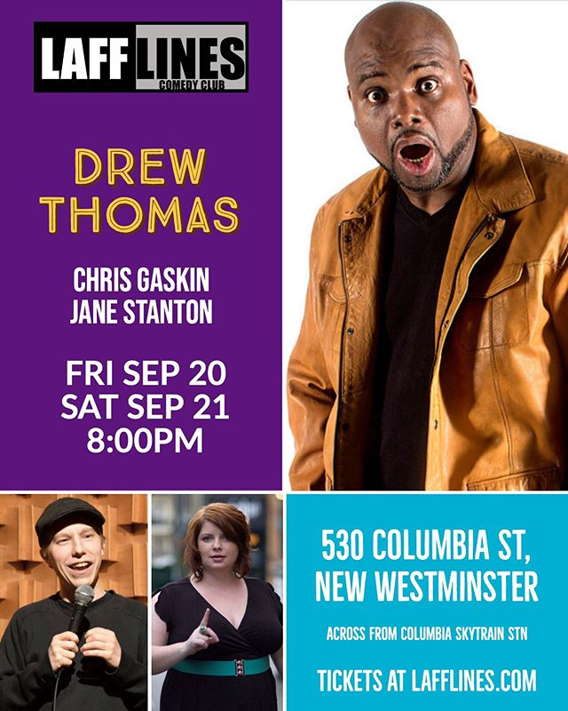 Friday and Saturday! @comeseedrew Drew Thomas (Last Comic Standing, Late Late Show, Gotham Comedy Live, Laughs on Fox) headlines this weekend supported by @chrisgaskincomedian and @thejanestanton. Tickets online at Lafflines.com, call ahead for group reservations!