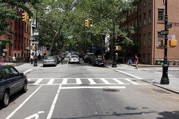 One-way road with bike lane and zero reduction in automobile lane-miles. From  Complete Streets .