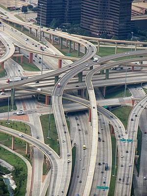The High-Five Interchange in Dallas, TX.
