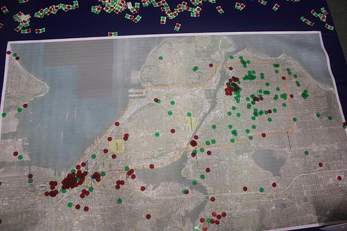 Trip start/finish map - green is start, red is end; image from Ballard News-Tribune.