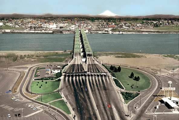 Columbia River Crossing from Vancouver, WA to Portland, OR in 1965, photo from  WSDOT .