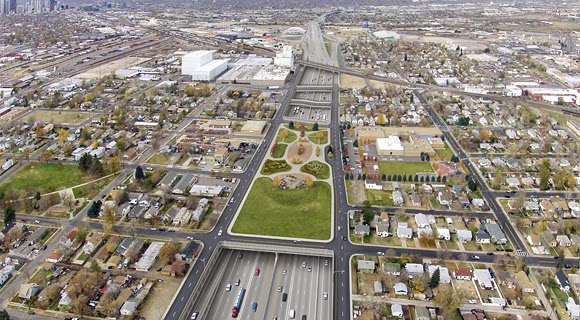 A rendering of Denver's planned I-70 widening, bury, and cap. Photo from  I-70east.com .