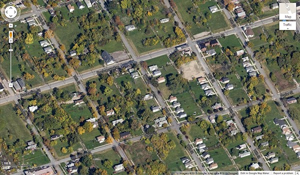 Google Maps image of part of the Core City neighborhood in Detroit, MI.