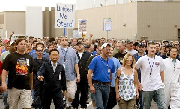 Boeing employees strike in September, 2008, photo from the  Seattle Times .