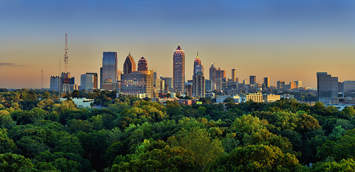 Atlanta skyline. A city with less economic opportunity than many coastal cities, but where owning a home or paying an affordable rent is still within reach to moderate-income households.