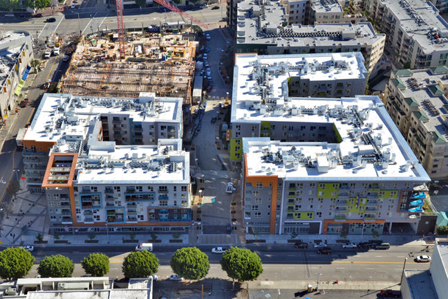 The AVA apartments under construction in Little Tokyo.