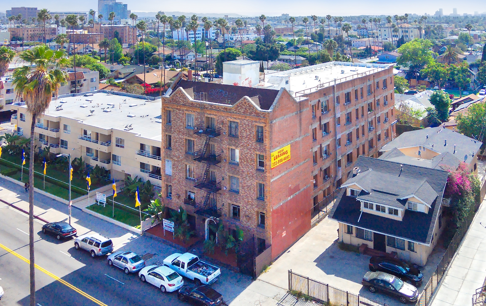 Example of an ideal building for acquisition/preservation. Located in Koreatown, part of a 90-unit complex selling for $193,000 per unit, and high enough density that it is unlikely to be targeted for redevelopment in the future.