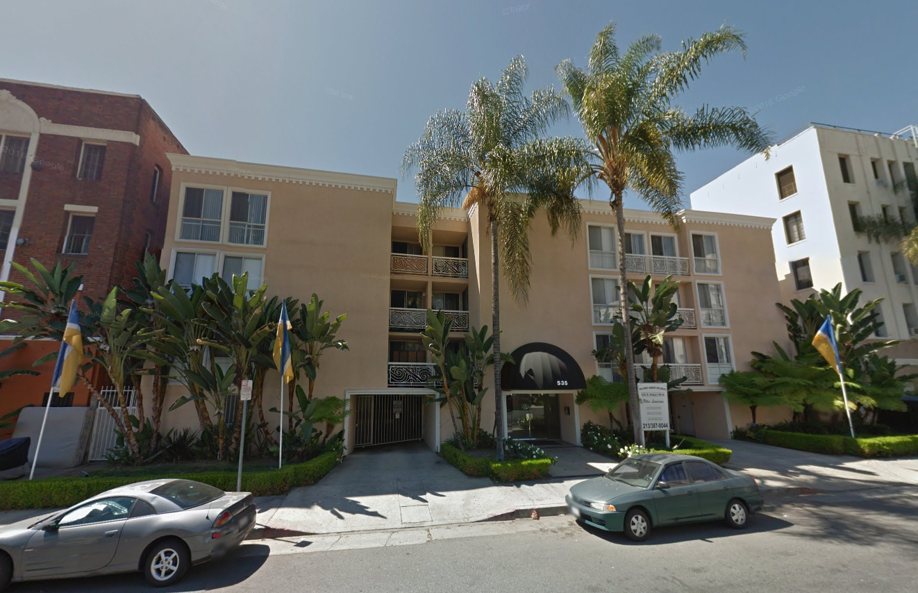 "A 45-unit apartment building in Koreatown at 535 S Hobart Blvd, built in 1986, which would become rent stabilized in 2017 with a change to a 30-year ""rolling"" rent stabilization law."