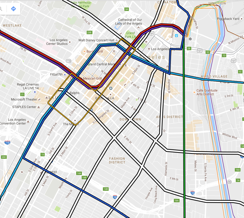 Metro Rail (colored lines) will frame downtown on all sides: Red, Purple, Blue, and Expo Lines on the west and north; Blue on the south, and the future West Santa Ana branch line on the east. What services will be available to connect the areas in between and beyond?
