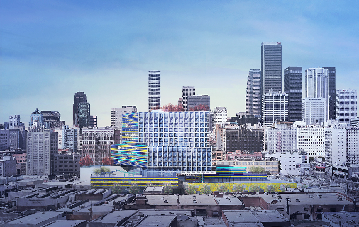 """The proposed Southern California Flower Market redevelopment would """"call for the demolition of one building to construct a 15-story residential tower with around 320 units, 10%of them below market rate,"""" and would preserve and renovate the Flower Market itself. Source:  LA Times ."""