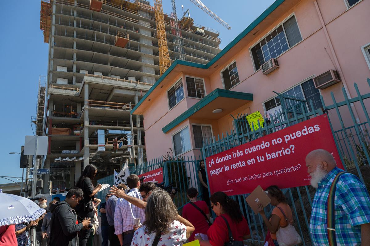 A photo from the anti-Build Better LA press conference held on July 19th, 2016 at the Yucca-Argyle apartments, where 40 rent-stabilized units are set to be replaced by 39 low income and 152 market-rate units.