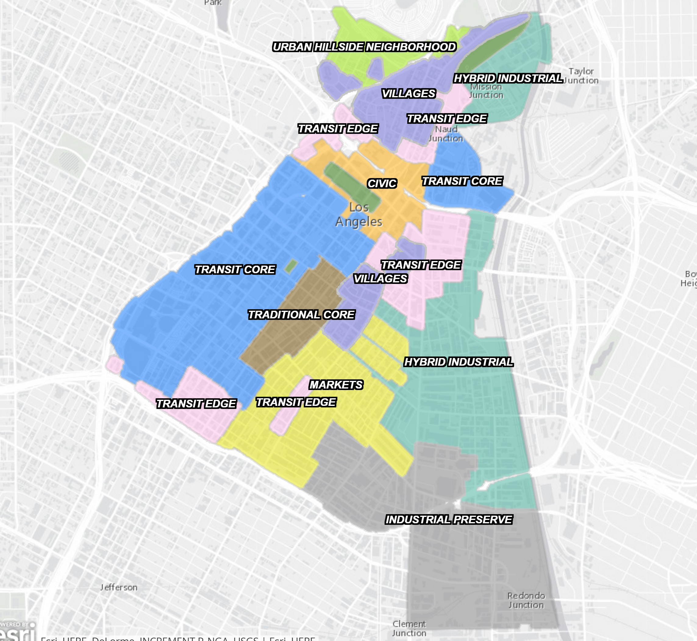 A map of the proposed zones in the DTLA 2040 plan. Source:  DTLA2040.org .