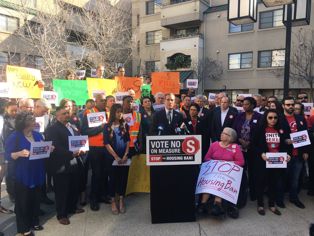 Mayor Garcetti speaks out against Measure S with other coalition members at Casa Heiwa, a 100%-affordable housing development in Little Tokyo that couldn't have been built if Measure S had been law.