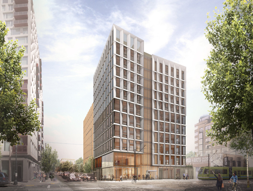 A 12-story cross-laminated timber (CLT) building planned for Portland, OR. The city must create a path for developers to try out innovative, often less expensive materials like CLT that can increase the diversity of building aesthetics and reduce the costs of new housing.