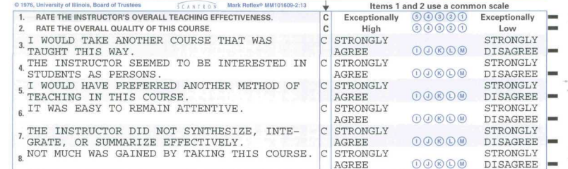 An example of a performance evaluation form used by students to rate their courses and instructors.