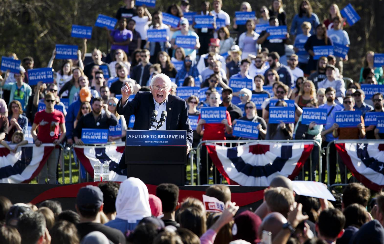 Bernie Sanders at a rally in New York before Primary Day. Source: Justin Lane/EPA.