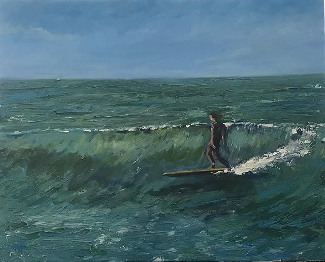 Here is another in the collection.  It's a WIP as I'm going to be tightening up the surfer ...but while I'm at it I thought I'd share this one too.  #surfart #islandlife #painting #longboarding #waves #zen #acrylic #arts