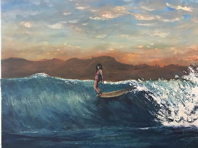 Hey gang. Happy Friday. Ive been painting...and working  simultaneously on a few piece at the same time.  Thought it was a good time to share. I like this one, tho painting again is exposing me to definitely craving classes in painting clouds and people again (it's been quite the challenge). Any tips and suggestions are welcome.  #surfart  #longboard #hangten #islandlife #illustration #artist #waves#soulfood #painting #acrylics #keepingatit