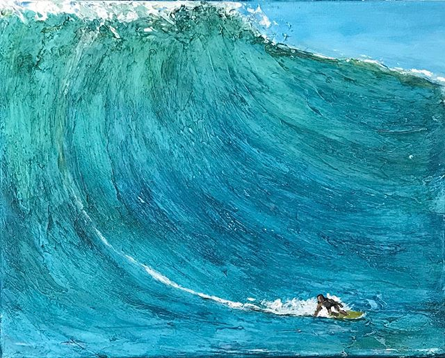 """""""Surf"""" Acrylic on 20"""" x 16"""" canvas.  There is something about paining big surf that has always fascinated me.  I have explored new techniques to try and capture nature beauty of motion  and weight of the water and find myself learning something new with every canvas.  These last few months have been a soulful jones year.  Thanks to everyone who has shown me support and encouragement.  Can't wait to keep it going.  #surfart #Surf #wave #waveart #ocean #oceanart #oceaninmotion #bigsurf #captuingnature #natureart #islandlife #beachlife #bigwaveridders #surfers #surfingart #art #artist #oceanlove # waveartist #nature #natureart #acrylic #painting #wip"""