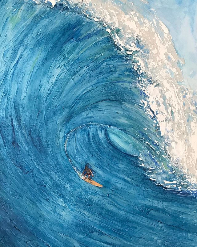 """""""Surf"""" Acrylic on 26"""" x 36"""" canvas.  There is something about paining big surf that has always fascinated me.  I have explored new techniques to try and capture nature beauty of motion  and weight of the water and find myself learning something new with every canvas.  These last few months have been a soulful jones year.  Thanks to everyone who has shown me support and encouragement.  Can't wait to keep it going.  #surfart #Surf #wave #waveart #ocean #oceanart #oceaninmotion #bigsurf #captuingnature #natureart #islandlife #beachlife #bigwaveridders #surfers #surfingart #art #artist #oceanlove # waveartist #nature #natureart #acrylic #painting #wip"""