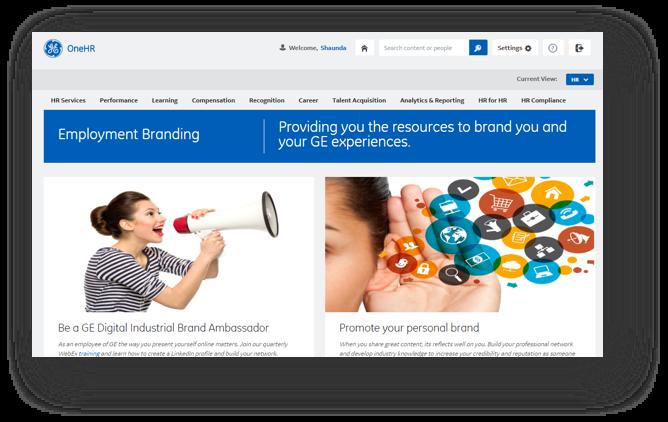GE Brand Ambassador internal website