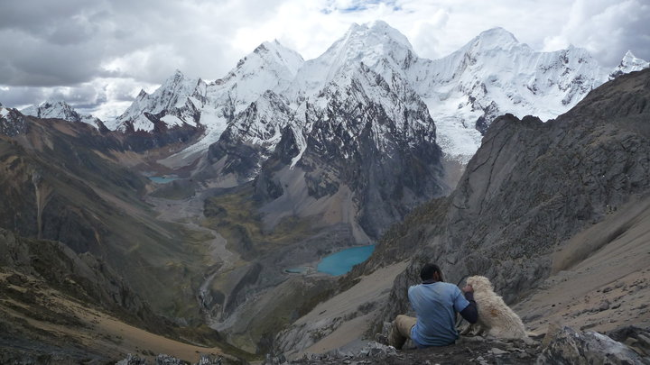 Cyril Francis hanging out with a random dog that decided to join him on the hike