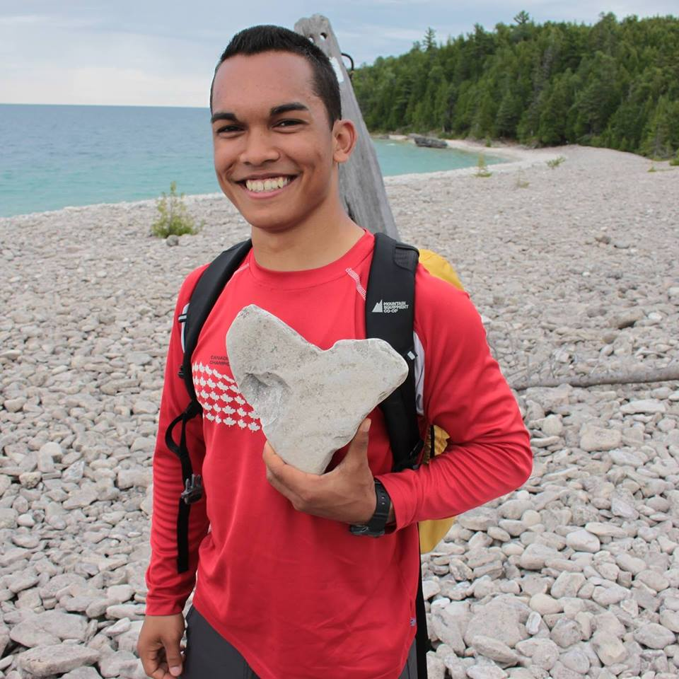 """I love what I do (as you can see from this rock).""  At Boulder Beach along the Bruce Trail, Ontario."