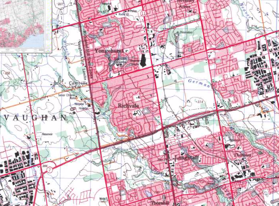 Topo map showing farmland in the Toronto region. This map was likely last updated in the 90s