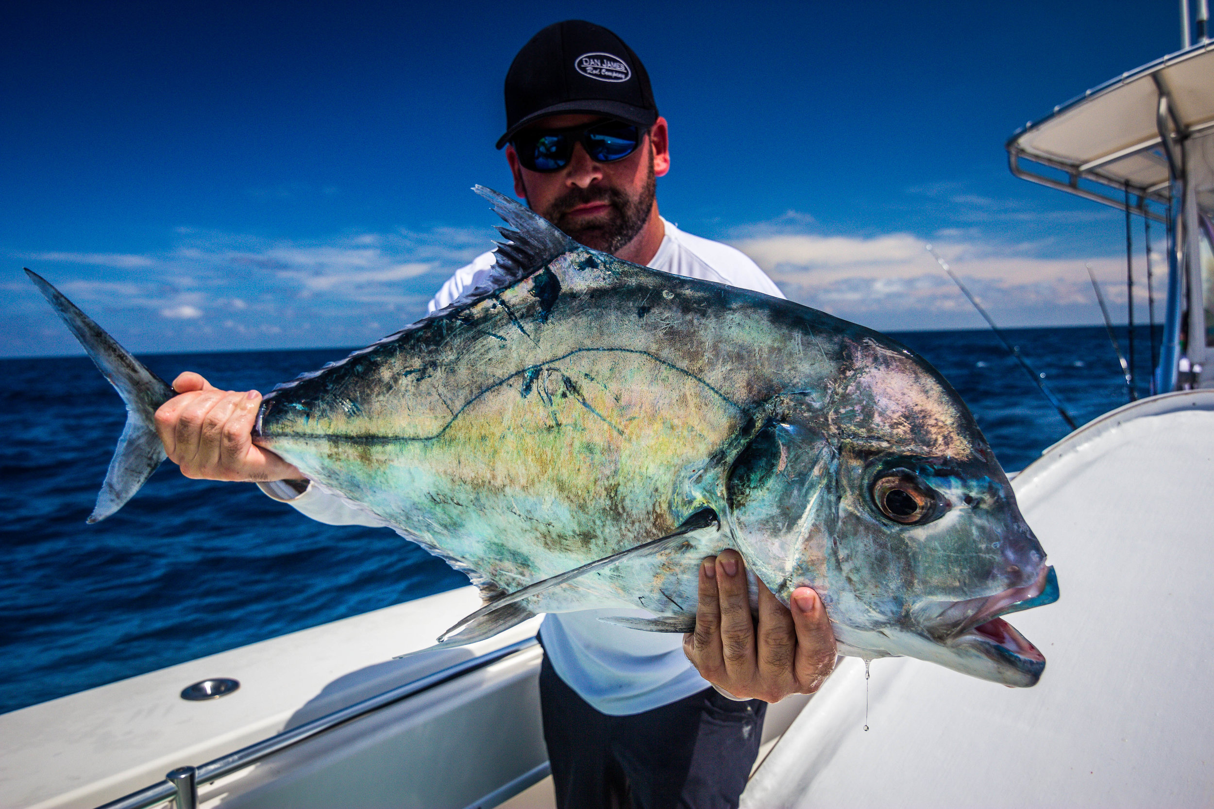 Dan James from Dan James Rod Company holding his African Pompano!