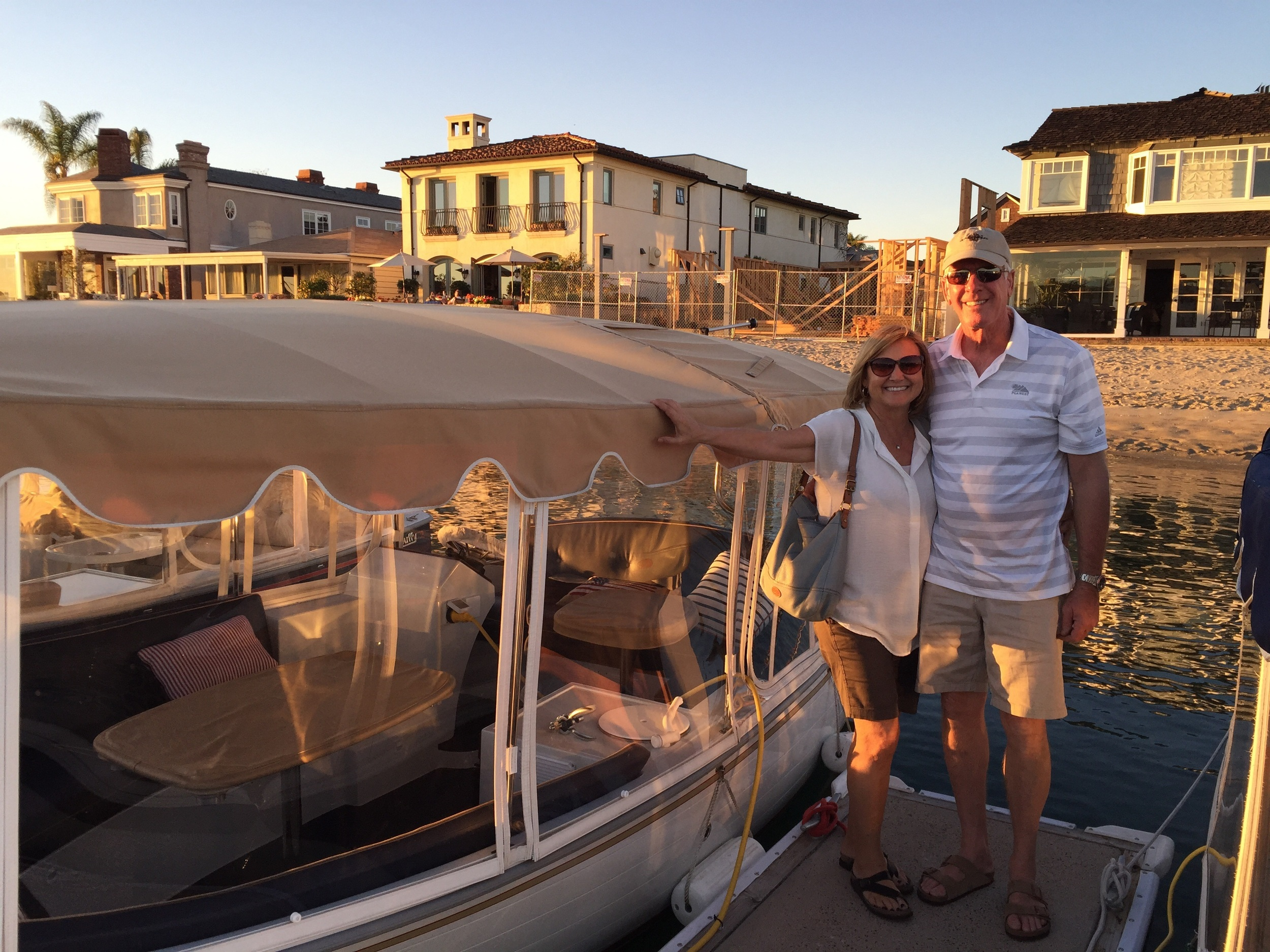 Liz and Bill with the Duffy Boat after we went sight seeing in Newport Harbor. Saw where John Wayne and Roy and Dale Rogers lived!