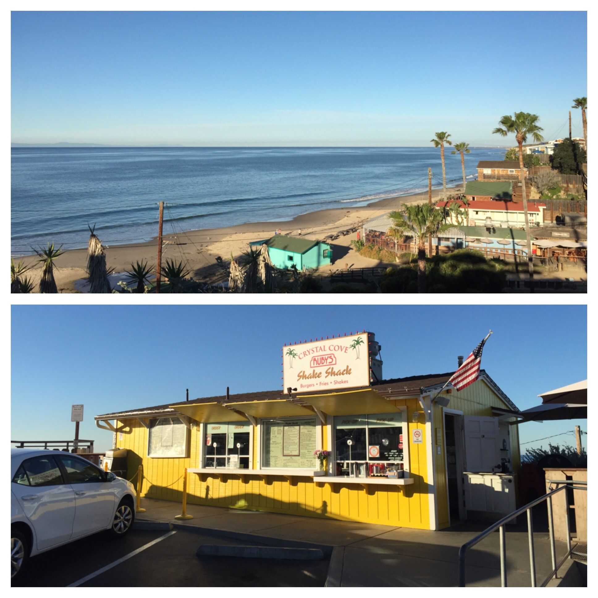 Ruby's is overlooking Crystal Cove about a mile before you get to Laguna Beach.