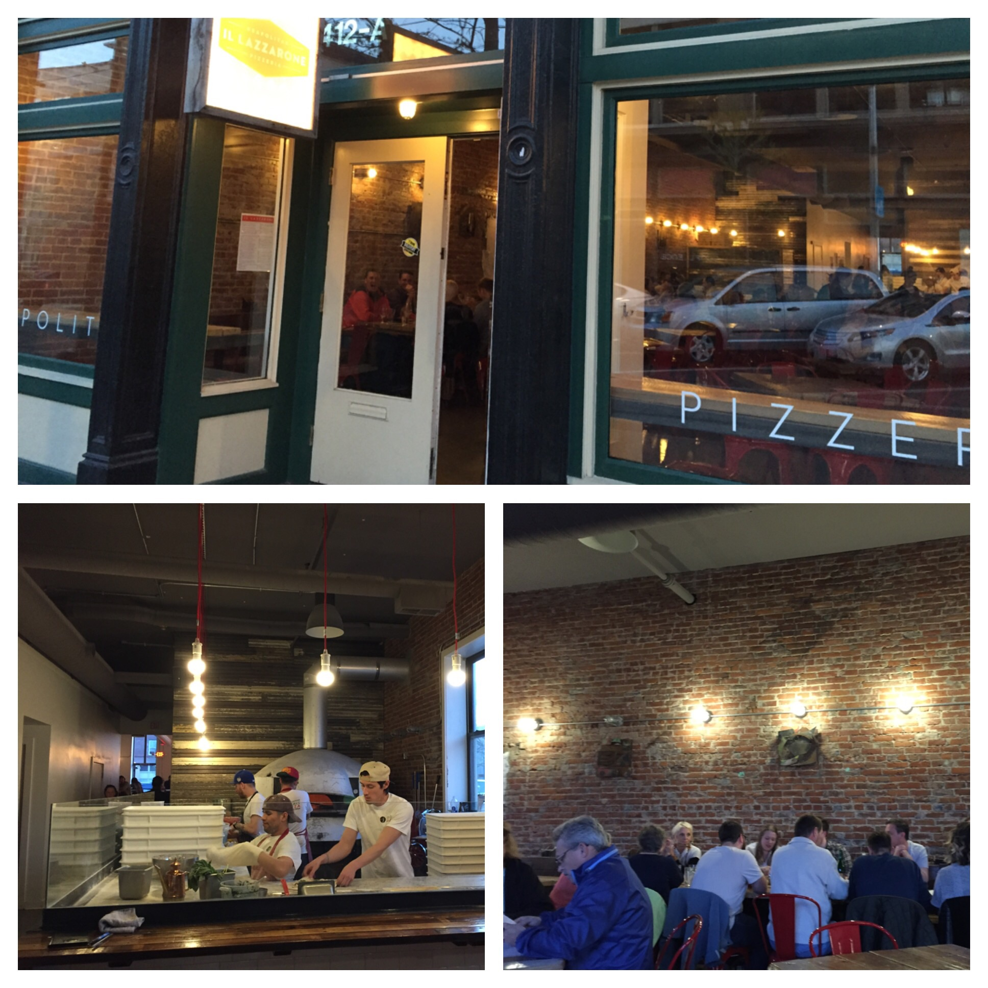 That silver dome behind the cooks is the oven!! Exposed brick walls which I really like. Worth checking out.