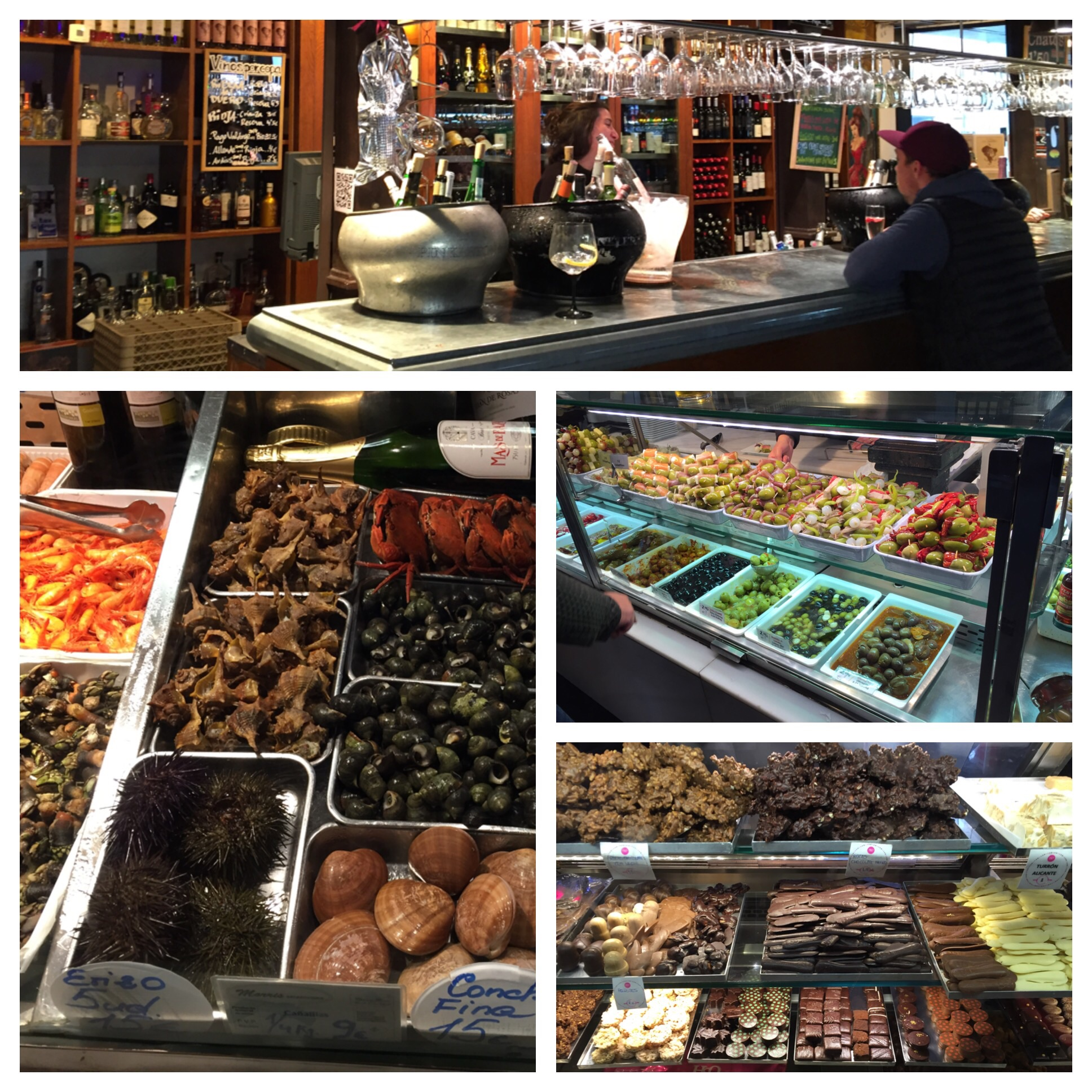 Clockwise starting at the top. Wine bar, olive bar, chocolate selection, weird fish selection - check out the black spikey ball!!!