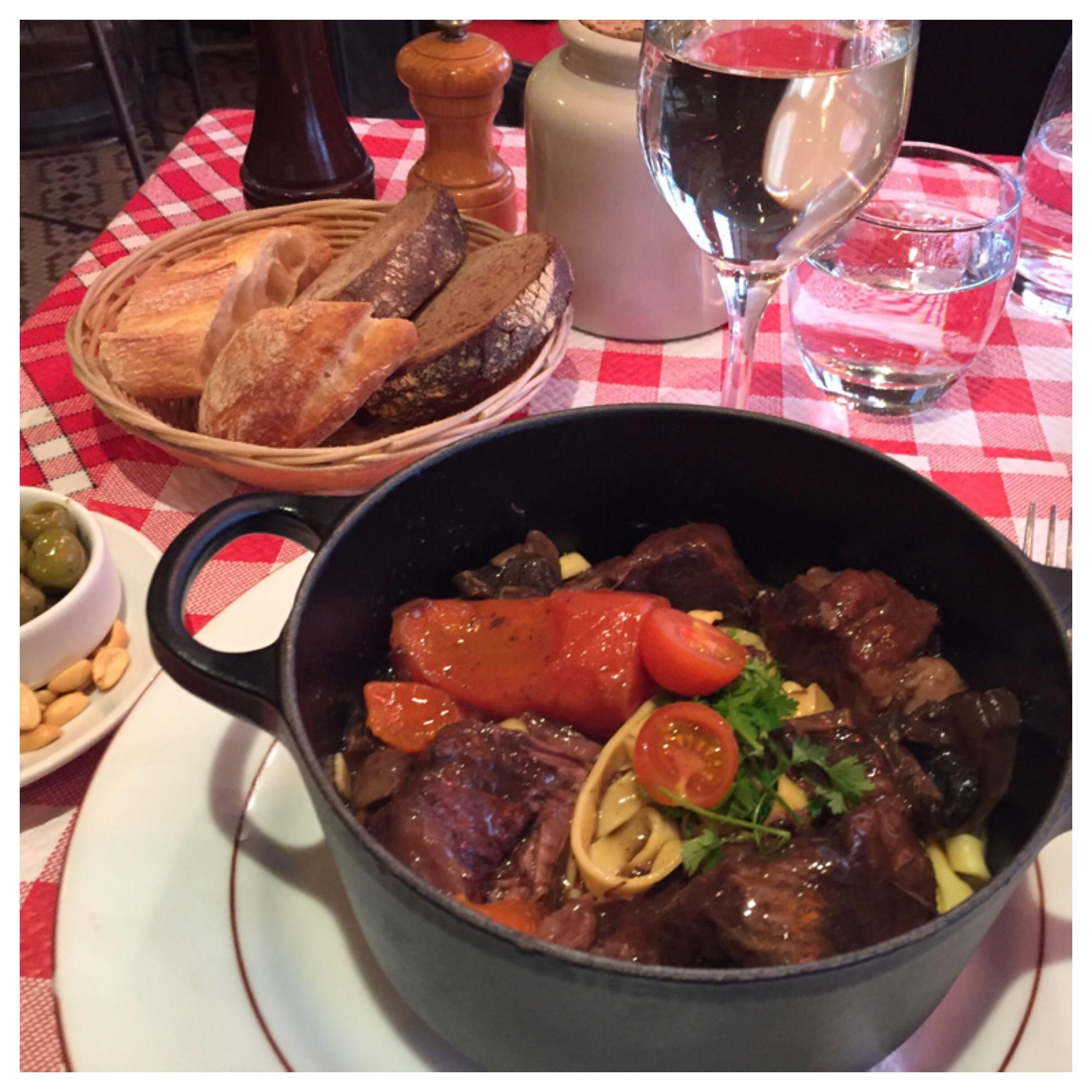 Boeuf Bourguignon - Beef Stew!!! Delicious! Bistro les 4 Saisons in my neighborhood.
