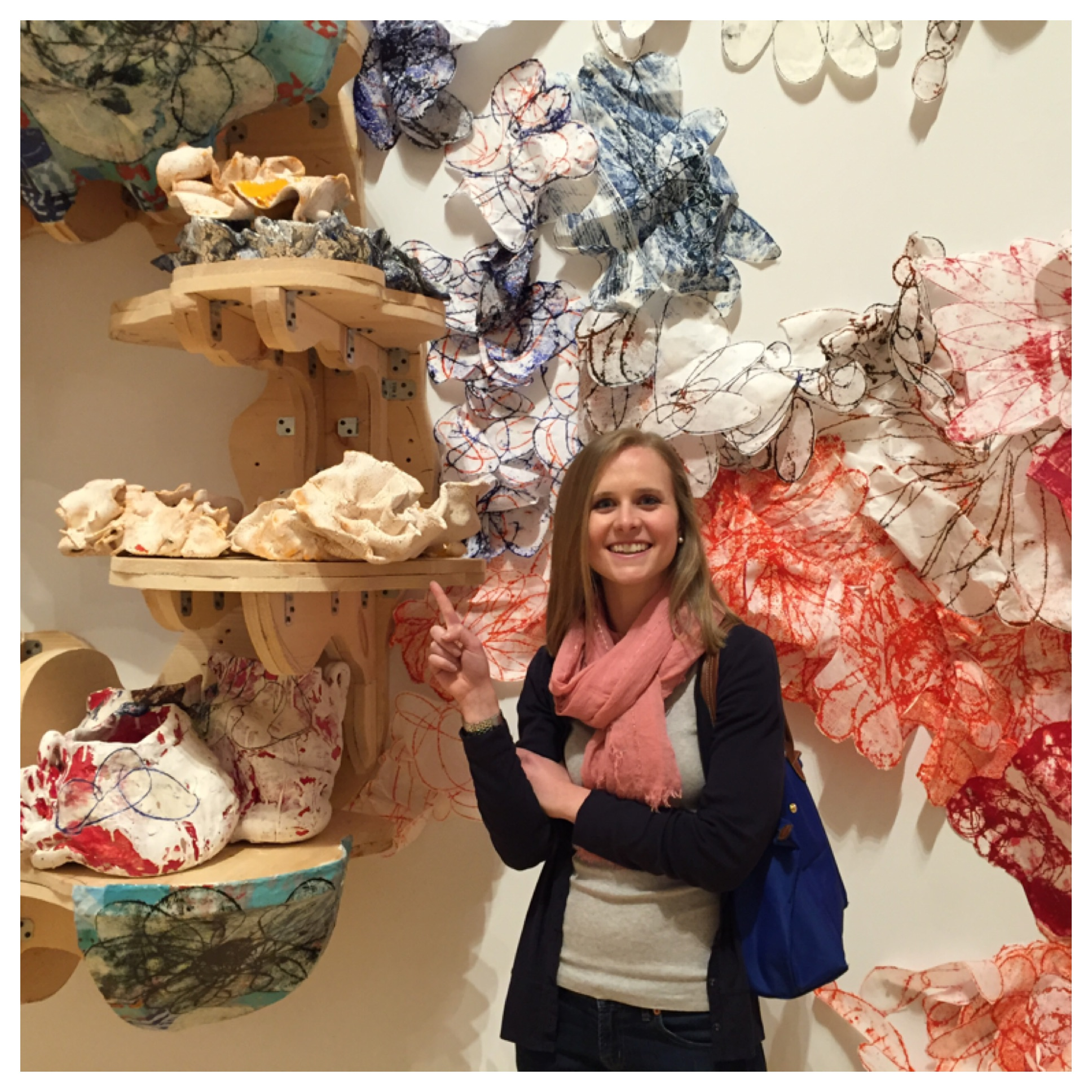 Keeley pointing to a ceramic piece that reminded us of the pinch pots every child makes in elementary school.