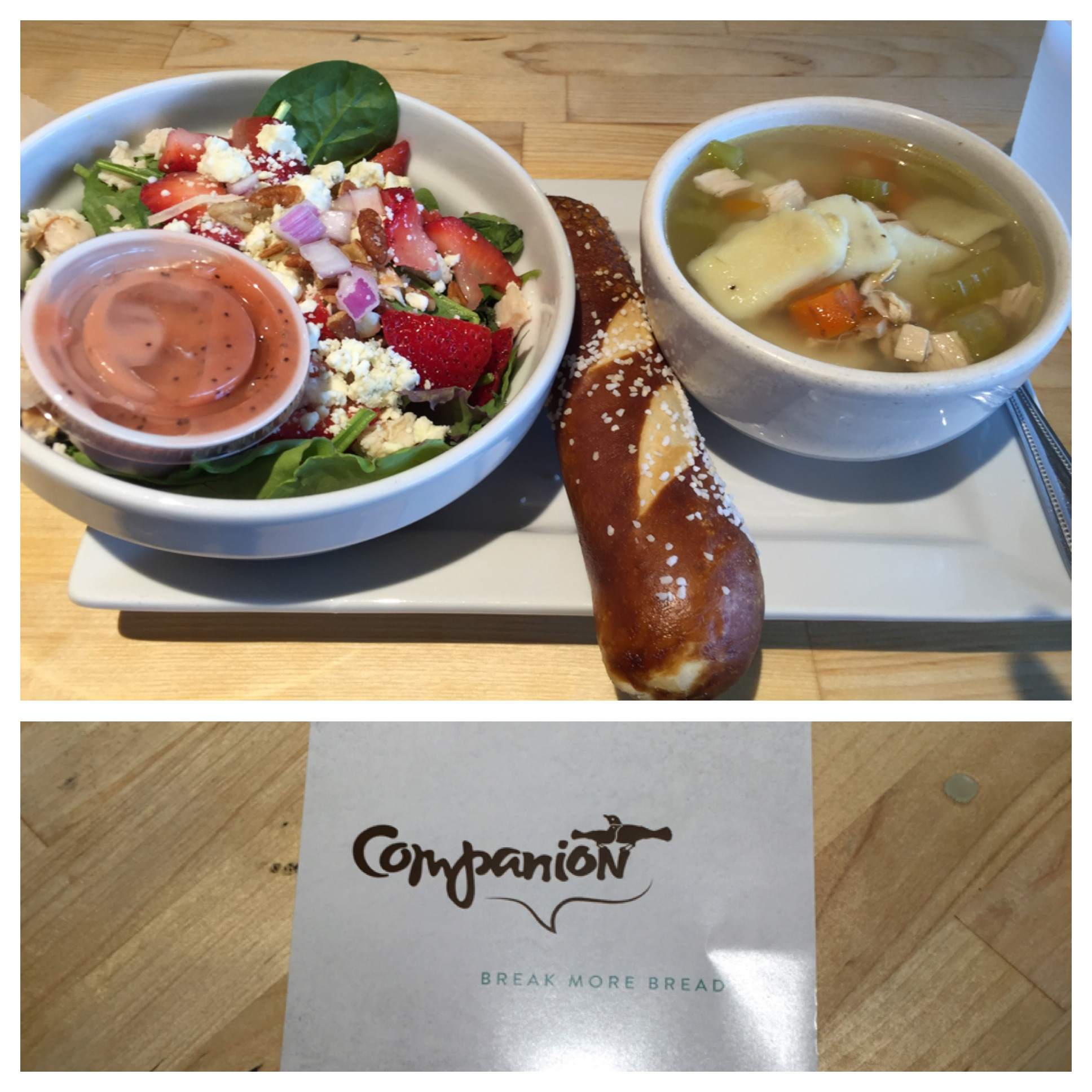 Homemade turkey and dumpling soup and a chicken strawberry salad with a delicious pretzel roll on day one. As good as I remember!